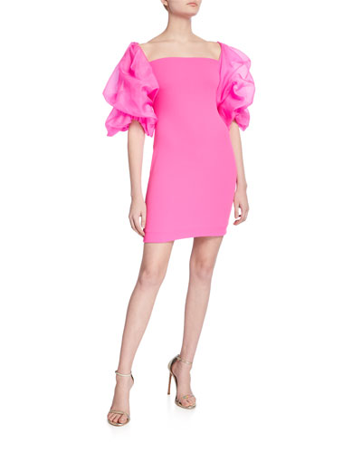 Elice Mini Dress with Organza Sleeves