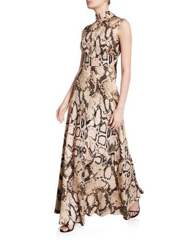 Rhoda Snake-Print Tie-Neck Maxi Dress