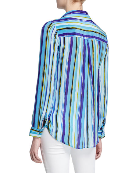 Nina Striped Long-Sleeve Blouse