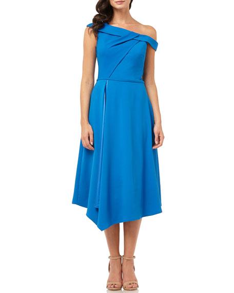 One-Shoulder Asymmetric Satin-Lined Midi Crepe Dress