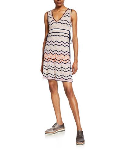 Zigzag Stitch V-Neck Sleeveless Mini Dress