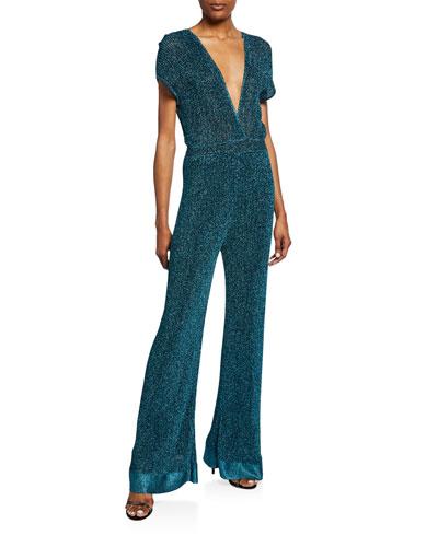 Metallic Double V-Neck Short-Sleeve Flare Jumpsuit