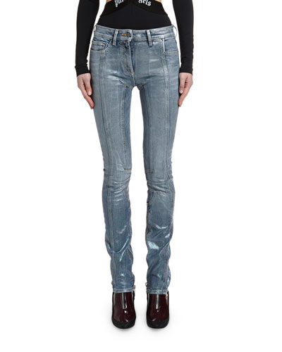 Straight-Leg Biker Denim Pants