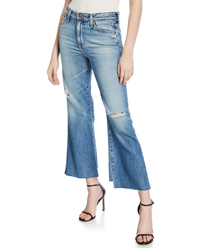 Quinne Cropped High-Rise Distressed Jeans