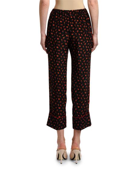 Candy-Print Cropped Pajama Pants