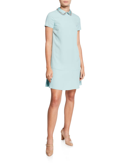 Envers Short-Sleeve Crepe Satin Dress with Embellished Collar