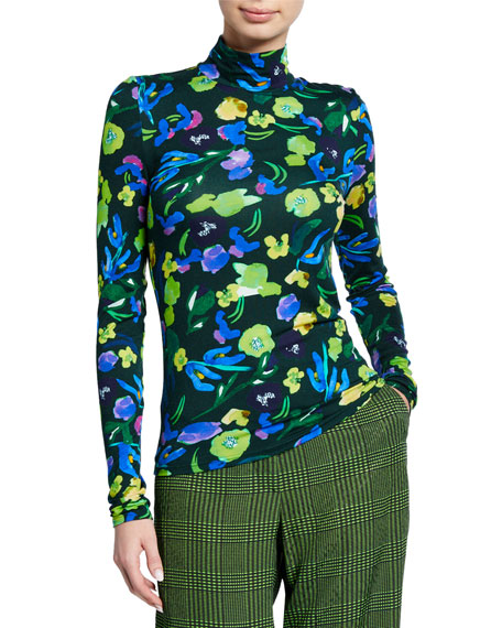 Tela Floral Print Turtleneck Top by Christian Wijnants