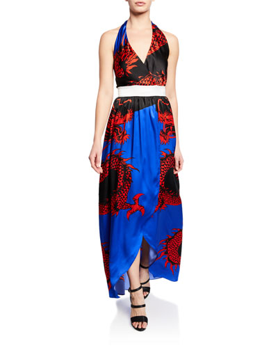 Dragon-Print Silk Halter Coverup Dress