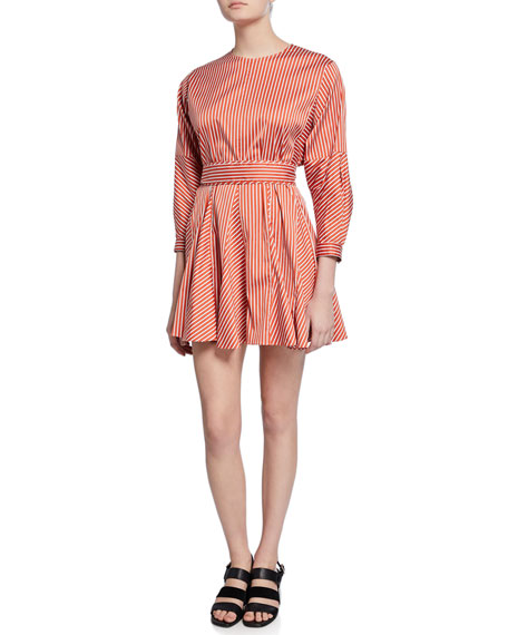 Striped Long-Sleeve Godet Skirt Mini Dress
