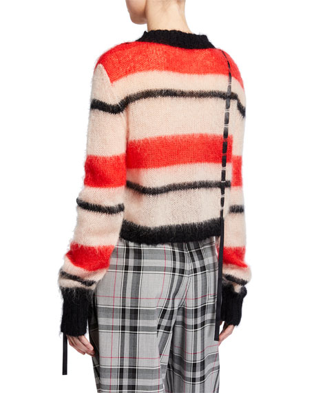Striped Mohair Crewneck Pullover with Ribbon