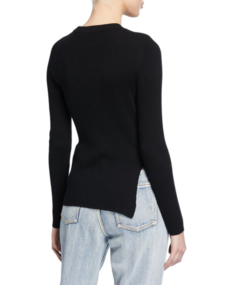 Crewneck Long-Sleeve Ribbed Pearlescent Pin Pullover