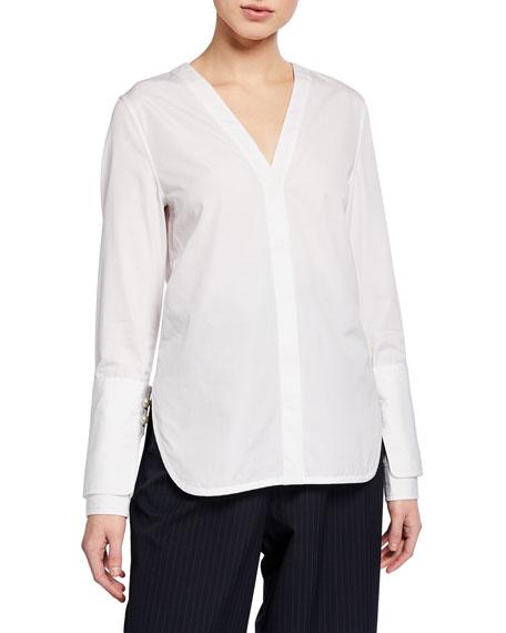 Long-Sleeve Poplin Top with Pearl Cuffs