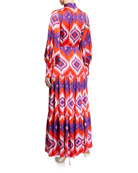 Dominica Printed Button-Front Tiered Maxi Dress