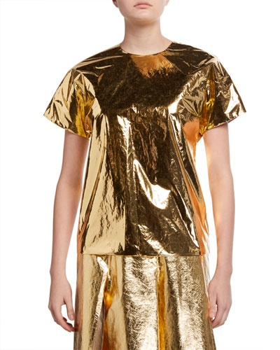 Metallic Short-Sleeve Top