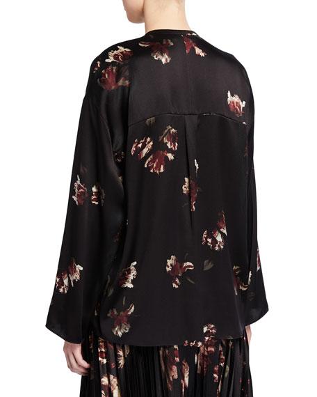Tulip-Print Silk Blouse