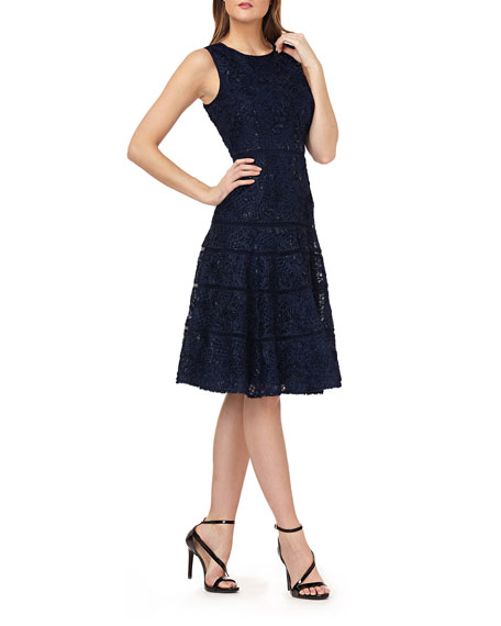 Image 1 of 1: Sequin Embroidered Sleeveless Fit-&-Flare Dress