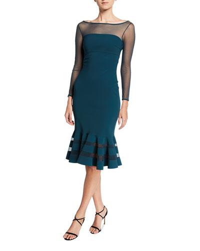 Boat-Neck Long-Sleeve Flounce-Hem Illusion Dress