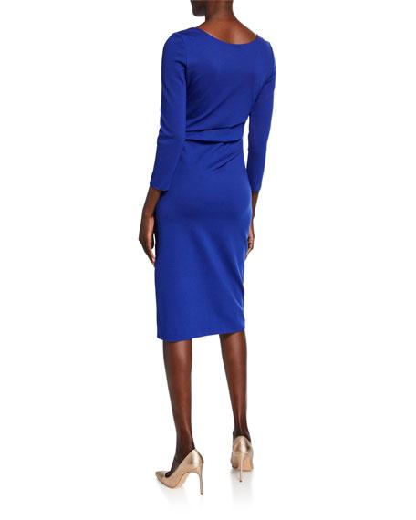 Round-Neck Ruched Jersey Dress, Cobalt