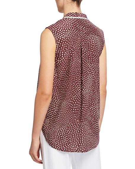 Dean Dot-Print Sleeveless Wrap Top