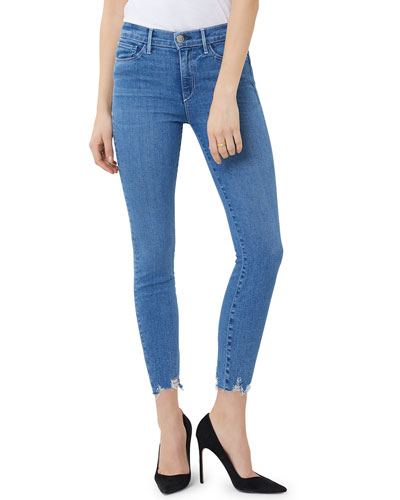Mid-Rise Skinny Crop Jeans with Chewed Hem