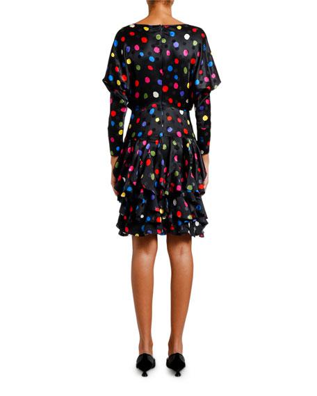 3/4-Sleeve Polka-Dot Ruffle Dress