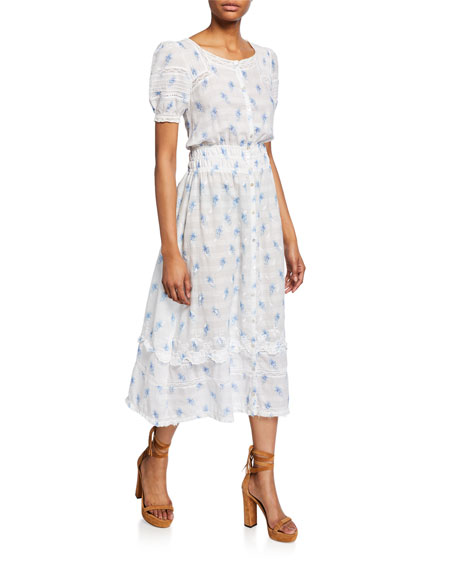 Image 1 of 1: Sandy Embroidered Button-Front Midi Dress