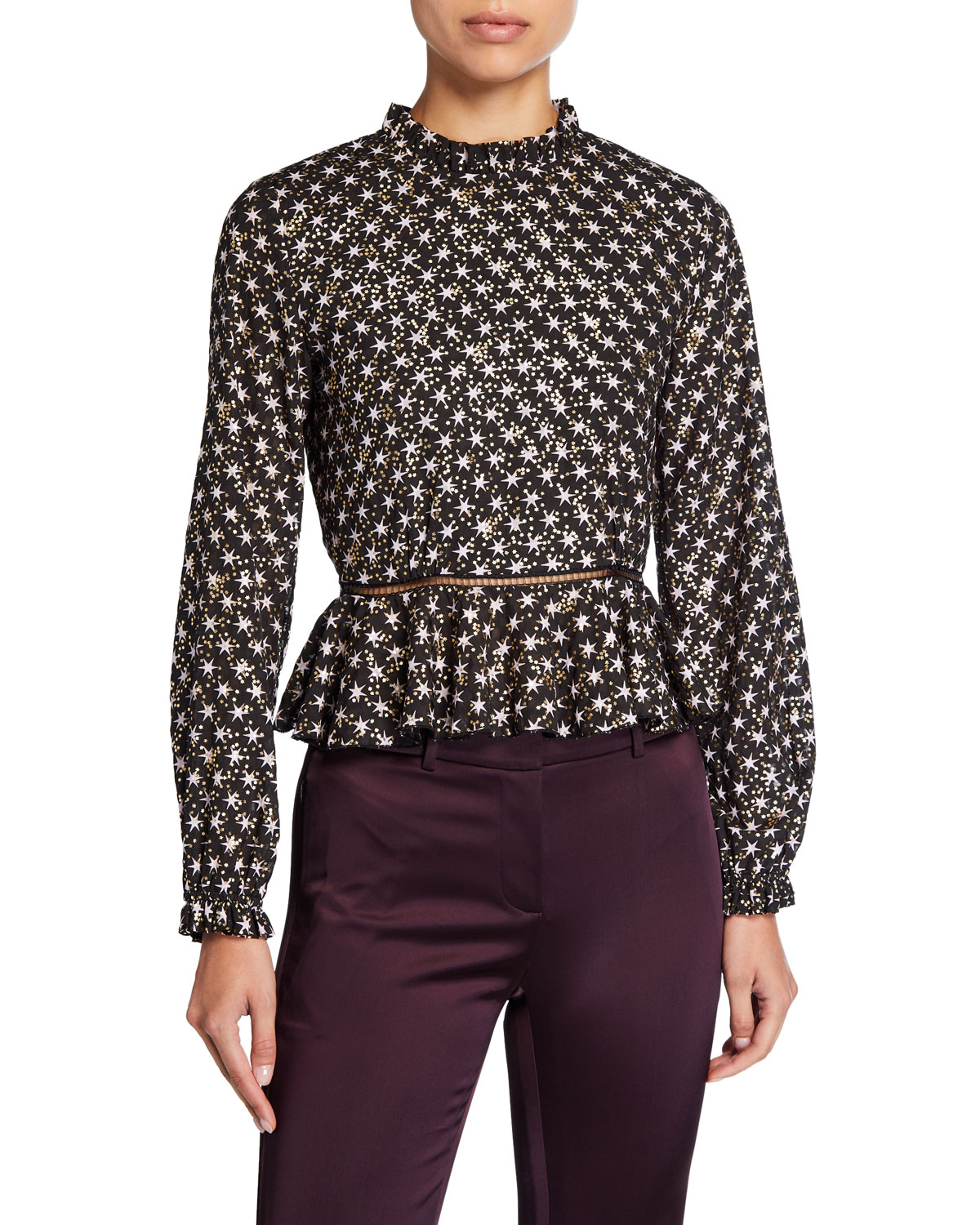 Shirley Printed Long Sleeve Peplum Top by Stine Goya