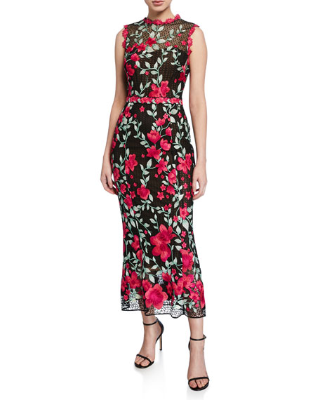 Sleeveless Floral Embroidered Guipure Tea-Length Gown