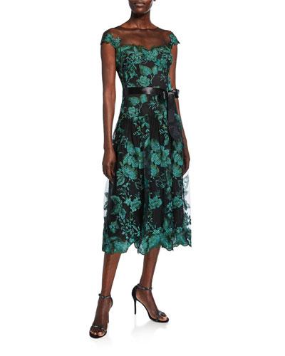 Rem Metallic Floral Cap-Sleeve Tulle Cocktail Dress