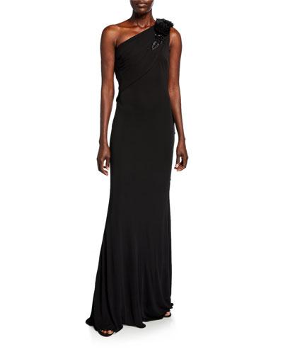 22b96fbf63f2 Grecian One-Shoulder Column Gown Quick Look. Badgley Mischka Collection