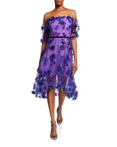 380f5f27 Off-the-Shoulder Blouson-Sleeve Tulle Dress w/ 3D Flowers Quick Look. Marchesa  Notte