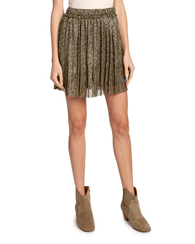 Beatrice Pleated Metallic Short Skirt