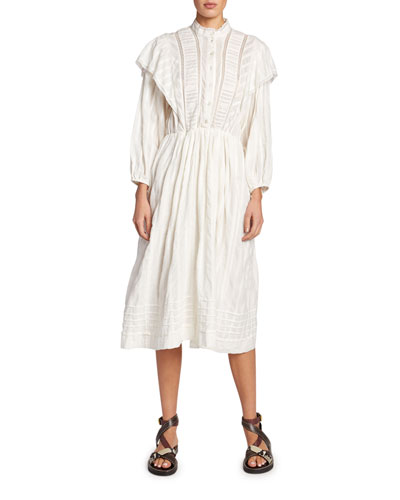 Paolina Poplin Peasant Shirtdress