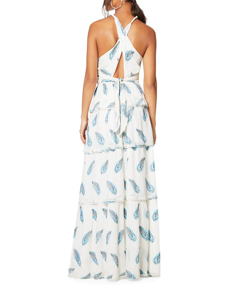 Toleda Printed Cross-Back Tiered Maxi Dress
