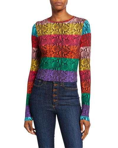 Delaina Colorblock Snake-Print Crewneck Long-Sleeve Crop Top