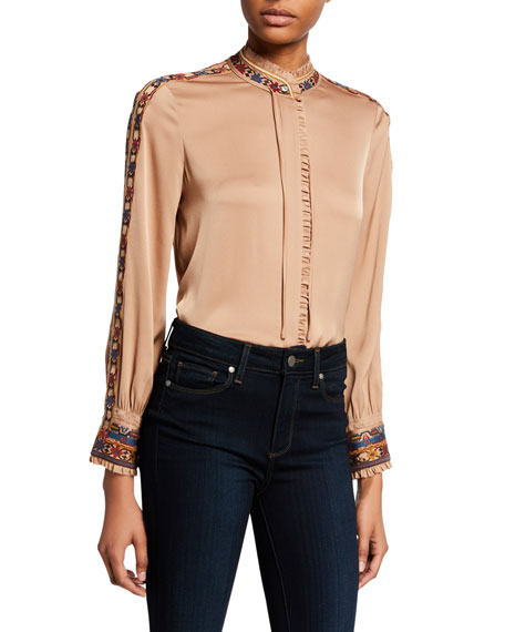 Image 1 of 1: Owen Mock-Neck Long-Sleeve Silk Blouse