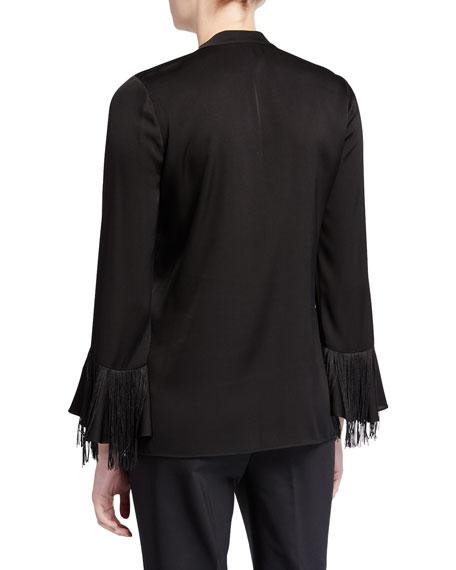 Melinda Lace-Up Long-Sleeve Fringe-Trim Silk Blouse