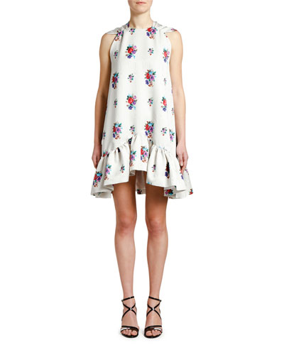 High-Neck Floral Shift Dress with Bow