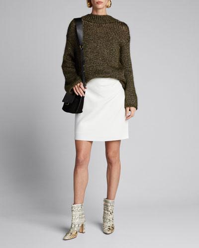 Gathered High-Rise Skirt w/ Raw Edge