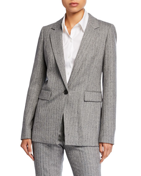 Rhoda Speckled Herringbone One-Button Blazer