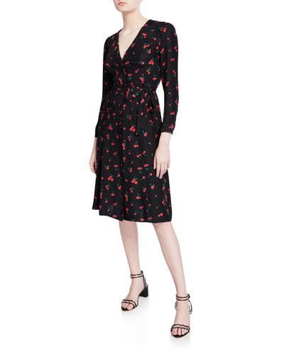 Lauren Cherry-Print Silk Dress