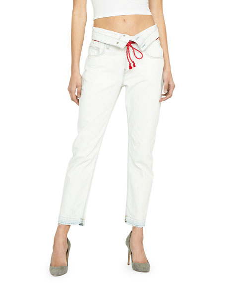 Jessi Cropped Boyfriend Jeans with Fold-Over Waistband
