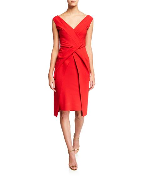 V-Neck Sleeveless Dress with Overlay Skirt
