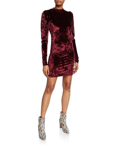 Lulu Long-Sleeve Velvet Mini Dress