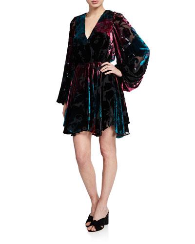 Olena Velvet Blouson-Sleeve Dress