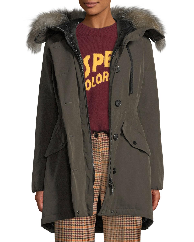 Monticole Long Parka Coat w Fur Trim at Hood