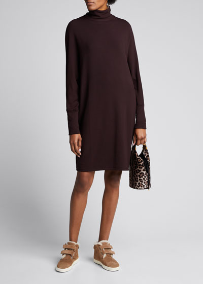 French Terry Relaxed Long-Sleeve Turtleneck Dress