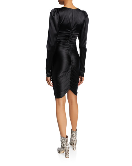 Colette Ruched Long-Sleeve Cocktail Dress