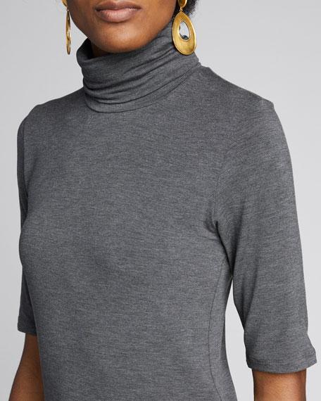 Elbow-Sleeve Turtleneck Top