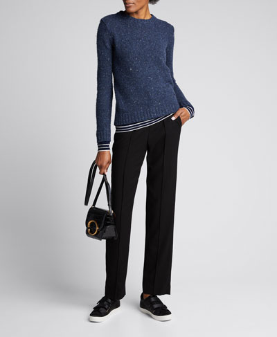 Layered Wool Long-Sleeve Crewneck Sweater